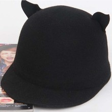 2014 New Fashion Cute Cat ears Pure wool hat Flat brim Fedoras Women Men Hat