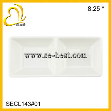 "8.25"" TWO SECTION TRAY; MELAMINE SECTION PLATE"