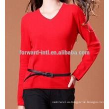Suéter de cuello en v de cachemira de mujer de moda