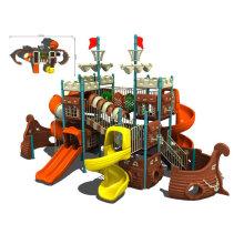 Childrens Anti-static Timber Wooden Train Playground Equipment Design