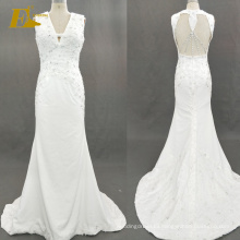 ED Bridal 2017 Mermaid Sexy Sleeveless Unique Open Back Beaded Satin Wedding Dresses China