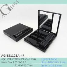 Caixa retangular vazia do olho sombra espelho com batom tubo AG-ES1128A-4F, embalagens de cosméticos do AGPM, cores/logotipo personalizado