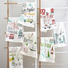 hight quality printing funny cartoon graffiti toalla de té cuadrada de la cocina TT-017