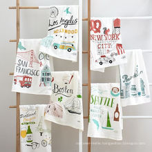 hight quality printing funny cartoon graffiti square kitchen tea towel TT-017