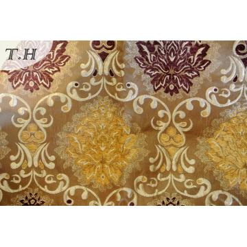 Tissu d'ameublement jacquard en argent Chenille neuf (FTH31823)