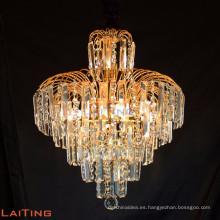 2017 cristal al por mayor de la lámpara que encendía el cristal excelente del oro de la calidad para el pasillo del hotel de la mansión