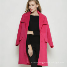 Latest Turn- Down Fashion Red Long Winter Women′s Coat