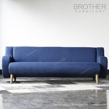 Sofa à trois places de tissu de tapisserie d'ameublement de style américain à la maison