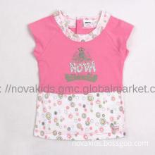 Children s clothing Girl summer short sleeve t-shirt K782#PINK