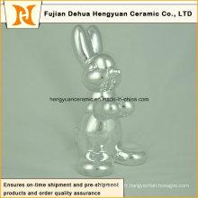 Artisanat en céramique en forme d'animal, plaquage Sliver Cochon en céramique pour décoration de Pâques