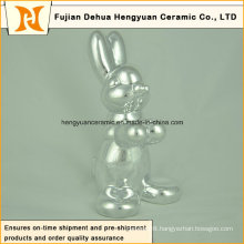 Animal Shaped Ceramic Craft, Plating Sliver Ceramic Rabbit for Easter Decoration