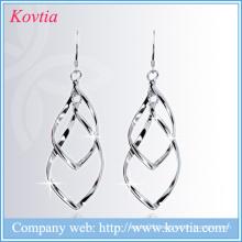 925 sliver earrings ribbon long leaf hanging earring long hook earring design
