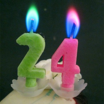 colorful flame number candles