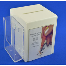 Customize White Acrylic Coin Box with Pamphlet Holder