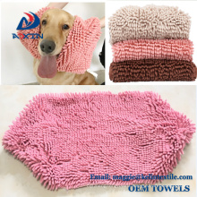 China supplier oversized microfibre pet towel chenille dog towel
