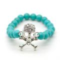 Turquoise 8MM Round Beads Stretch Gemstone Bracelet with Diamante Skull Piece