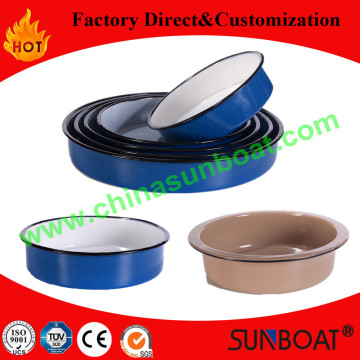 24*6cm Carbon Steel Kitchenware Enamel Round Tray