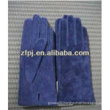 Classic style navy pig suede driving gloves For women