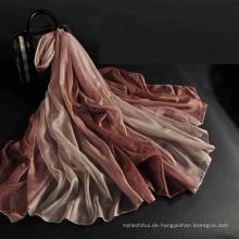 China neue Ankunft Mode Frauen Großhandel 100% Polyester Seide fühlen Schal