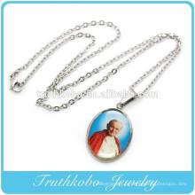Barato religioso aço inoxidável Papa imge colar de jóias com charme cristão