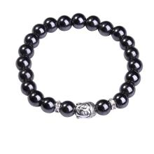 Natural Hematite 8MM Gemstone Buddhism Prayer Beads Bracelet Buddha Jewelry