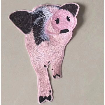 Pink Leopard Flat Embroidery Patch for Jacket Denim