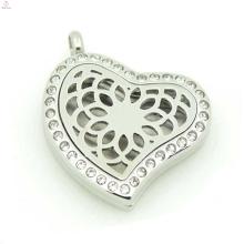 Locket del perfume de la flor de la manera, medallones del difusor del aceite esencial, medallón cristalino del corazón al por mayor