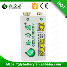 Manufacturer supply Geilienergy Li-ion 9V 680mah Rechargeable Battery with protect board