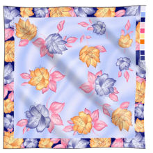 100% seda chiffon tecido mão impresso cachecol de seda natural