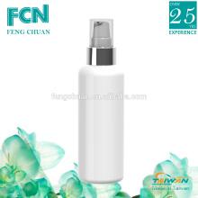 Embalaje de plástico taiwan cosmético loción botella blanco caliente banda plata