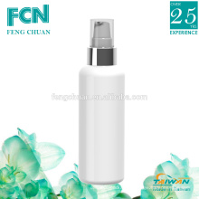 Plastic packaging taiwan cosmetic lotion bottle white hot band silver