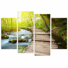 Sunshine in Forest Wall Art/4 Pieces Canvas Prints for Home Decor/Dreamlike Water Wall Pictures