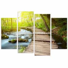 Саншайн в искусстве лесной стены / 4 шт. Печать на холсте для домашнего декора / Стены, похожие на стены с водой