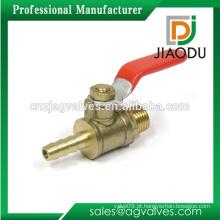 Taizhou fabricante baixo preço personalizadas aço lidar com rosca macho cw617n latão gás bola mamilo válvula