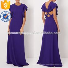 Vestido de noche de crepé fluido fluido púrpura Maxi Fabricación de ropa de mujer de moda al por mayor (TA4071D)