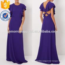 Purple Fluid Crepe Maxi Evening Dress Manufacture Wholesale Fashion Women Apparel (TA4071D)