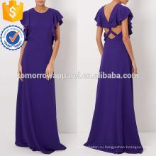 Фиолетовый жидкости креп Макси вечернее платье Производство Оптовая продажа женской одежды (TA4071D)