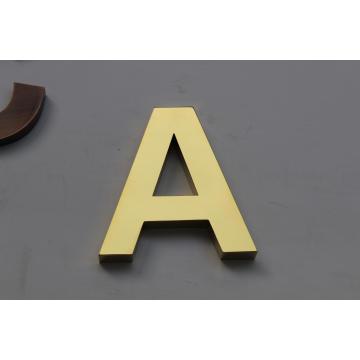 Novo! ! Espelho de titânio banhado a ouro de aço inoxidável não-iluminação sinal de letra de metal