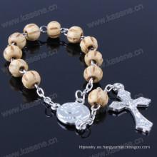 Pulsera de perlas de madera con colgante de aleación de papa Francis
