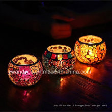 Colorido, mosaico, vidro, tealight, vela, suporte