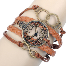 Antique bronze freedom handcuffs metal hollow clock Infinity Bracelets fashion watch new brown leather cord bracelets wholesale