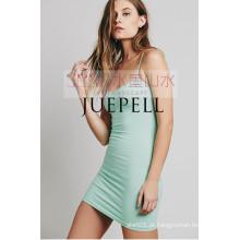 Moda Verão Sem Mangas Últimas Mulheres Vestido
