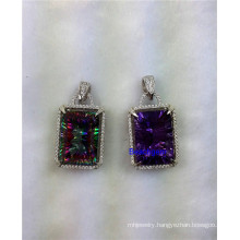 Jewellery-Color Quartz Sterling Silver Pendant (P1448)