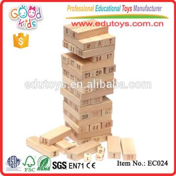 54 Stück Holz Jenga Natur Baustein Spielzeug