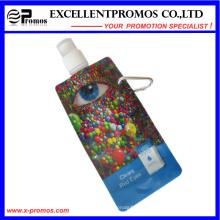 Faltbare Kunststoff-Wasserflasche mit Edelstahl-Ring (EP-B7154)