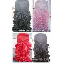 cubierta de la silla con volantes satinado durable excelente barato para boda