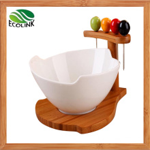 Ceramic Salad Bowl with Bamboo Stand and Fruit Fork