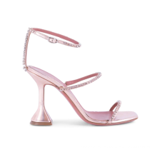 High Heel Buckle Open Toe Sandals For Women with Chunky Heels and Rhinestone Heels