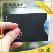 Folha de papel de alumínio RFID cartão de plástico titular cartão de plástico
