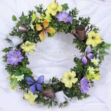Лето Синий Гортензия Шелковый Весенний Венок Двери
